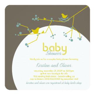Nesting Birds Family Tree Couples Baby Shower Card