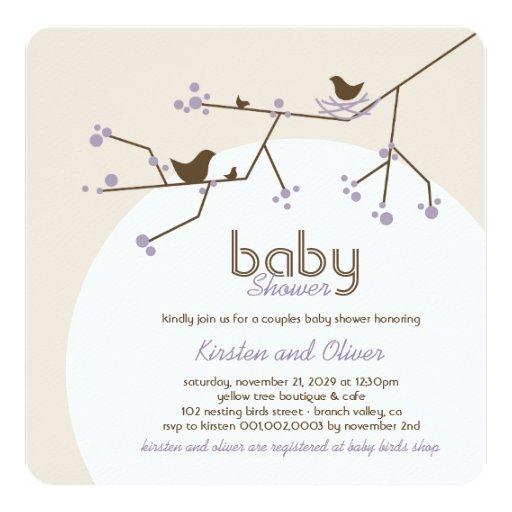Nesting Birds Family Tree Couples Baby Shower Invitation