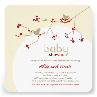 Nesting Birds Family Tree Couples Baby Shower Custom Announcement