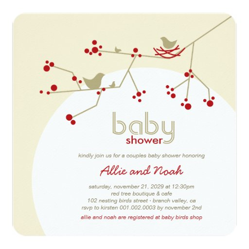 Nesting Birds Family Tree Couples Baby Shower 5.25x5.25 Square Paper Invitation Card