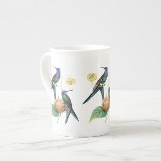 Nesting Blue Hummingbirds Bone China Mug