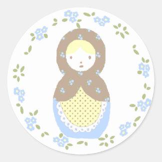 nesting doll sticker ♥ pegatina redonda