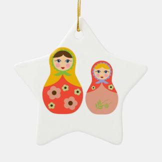 Nesting Dolls Double-Sided Star Ceramic Christmas Ornament