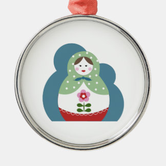 Nesting Dolls Round Metal Christmas Ornament