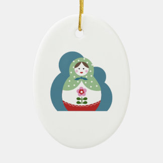 Nesting Dolls Double-Sided Oval Ceramic Christmas Ornament