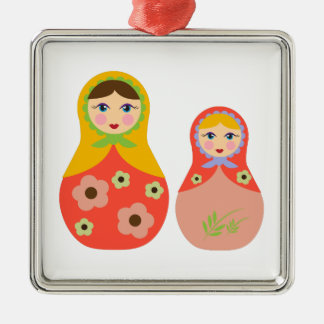 Nesting Dolls Square Metal Christmas Ornament