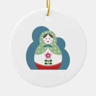Nesting Dolls Double-Sided Ceramic Round Christmas Ornament