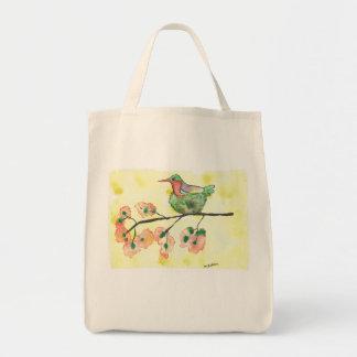 Nesting Hummingbird Watercolor Grocery Tote