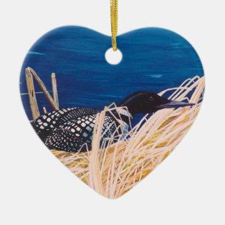 Nesting Loon Heart Ornament