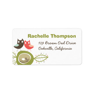 Nesting Owl Family Baby Shower Address Labels