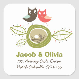 Nesting Owl Family Baby Shower Address Sticker