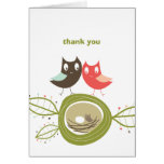 Nesting Owl Family Couple's Baby Shower Thank You Stationery Note Card