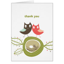 Nesting Owl Family Couple's Baby Shower Thank You Card