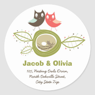 Nesting Owls Family Baby Shower Address Sticker