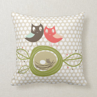 Nesting Owls Family Polka Dots Whimsical Cushion Pillow