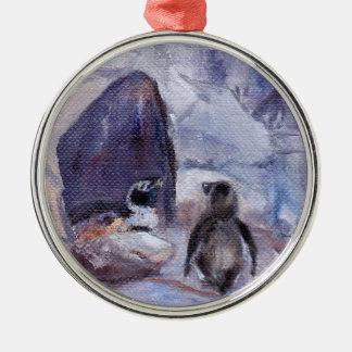 Nesting Penguins Metal Ornament