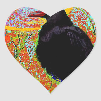 Nesting Red-billed Crow Abcstact Gifts Heart Sticker