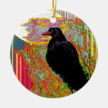 Nesting Red-billed Crow Abcstact Gifts Christmas Tree Ornament