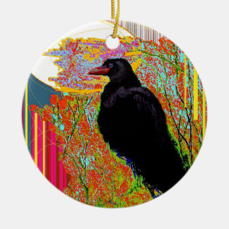Nesting Red-billed Crow Abcstact Gifts Double-Sided Ceramic Round Christmas Ornament