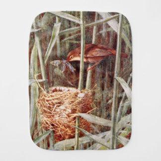 Nesting Reed Warbler Illustration Baby Burp Cloth