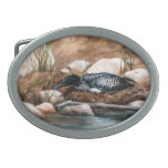 Nesting Time Loon Oval Belt Buckle