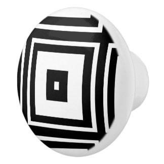 Nesting White and Black Square Ceramic Knob