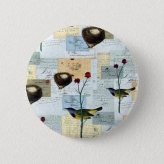 Nests and small birds pinback button