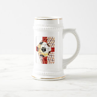 Net and ball England Soccer gifts 18 Oz Beer Stein