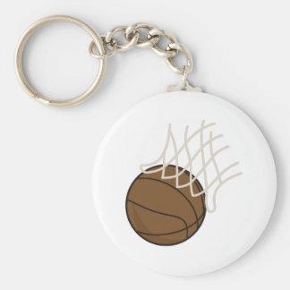 Net and Basketball Basic Round Button Keychain