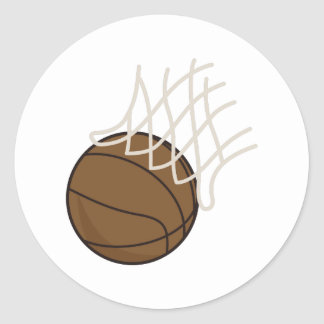 Net and Basketball Classic Round Sticker