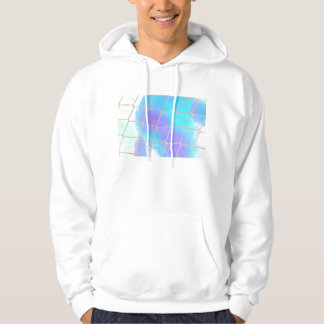 Net background with light blue hooded pullover