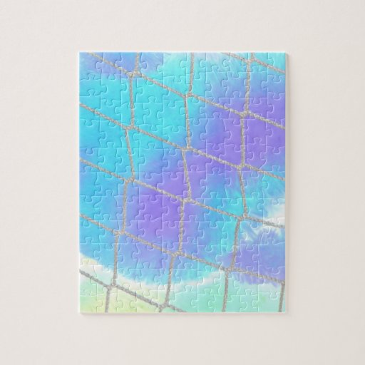 Net background with light blue jigsaw puzzles