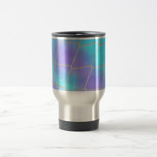 Net background with light blue mug