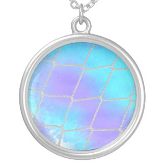 Net background with light blue personalized necklace