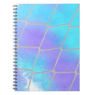 Net background with light blue notebook