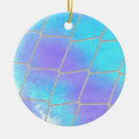 Net background with light blue christmas tree ornaments