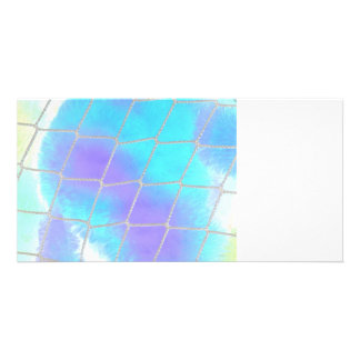 Net background with light blue personalized photo card
