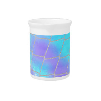 Net background with light blue beverage pitcher