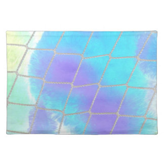 Net background with light blue placemat