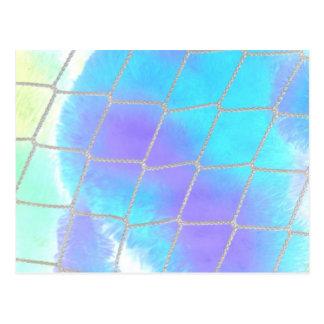 Net background with light blue postcard