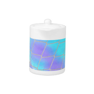 Net background with light blue teapot