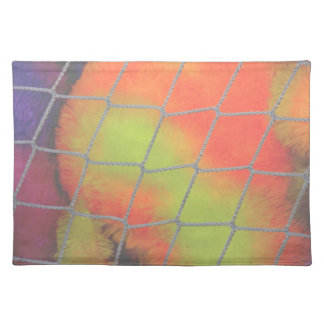 Net background with orange and yellow furry image cloth placemat