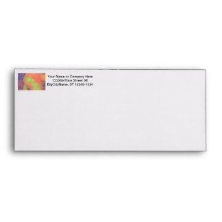 Net background with orange and yellow furry image envelope