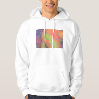 Net background with orange and yellow furry image hoodie