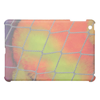 Net background with orange and yellow furry image iPad mini covers