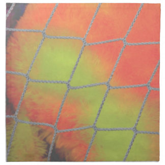 Net background with orange and yellow furry image cloth napkins