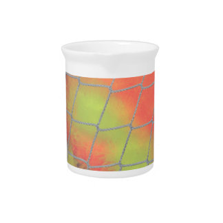 Net background with orange and yellow furry image beverage pitcher