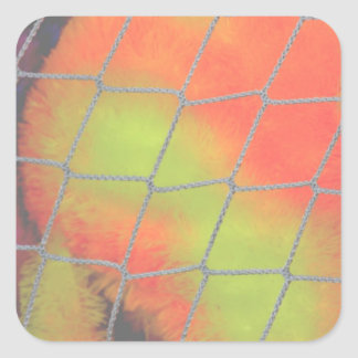 Net background with orange and yellow furry image square sticker