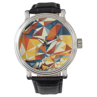 Net of multicolored triangles wrist watch