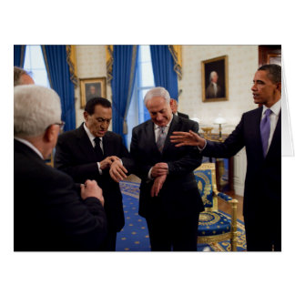 Netanyah, Mubarek, & Obama Meet In White House Card
